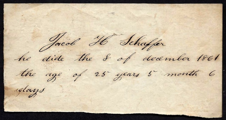 Slip of paper with Jacob's death date recorded found in family papers.